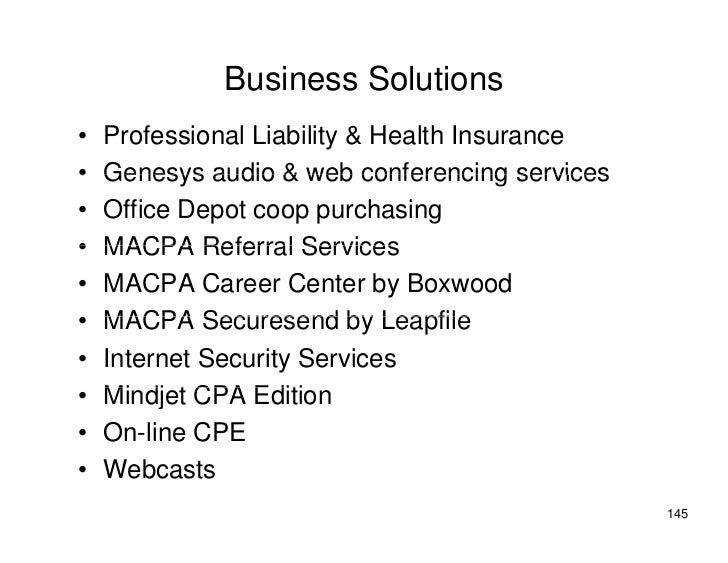Business Solutions •   Professional Liability & Health Insurance •   Genesys audio & web conferencing services •   Office ...