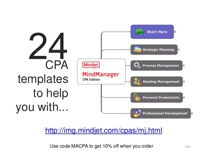 CPA templates    to help y you with...       http://img.mindjet.com/cpas/mj.html         Use code MACPA to get 10% off whe...