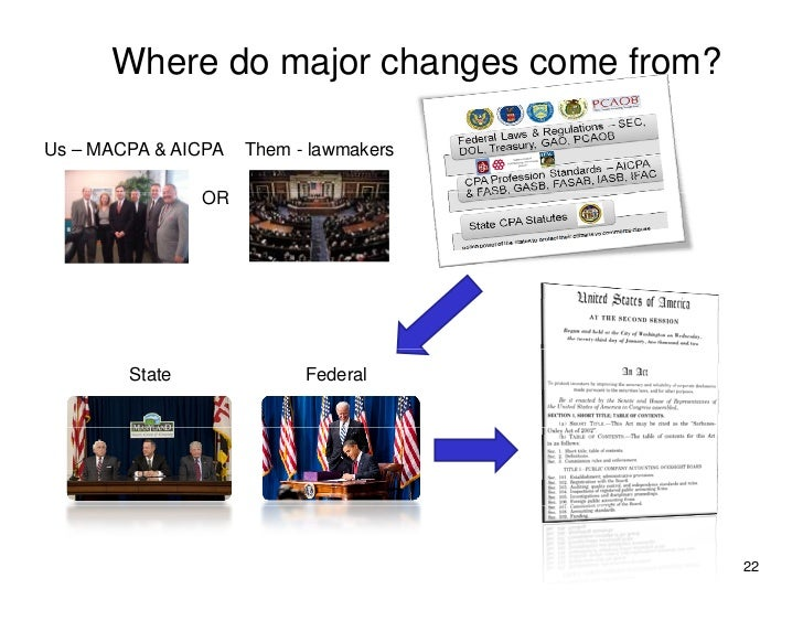 Where do major changes come from?  Us – MACPA & AICPA   Them - lawmakers                  OR             State            ...
