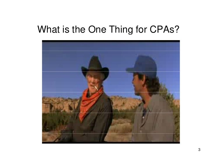 What is the One Thing for CPAs?                                       3