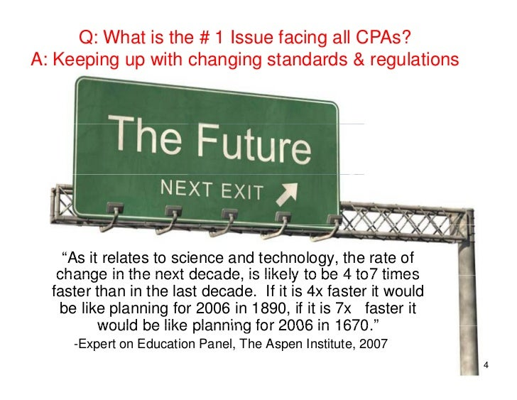 """Q: What is the # 1 Issue facing all CPAs? A: Keeping up with changing standards & regulations         """"As it relates to sc..."""