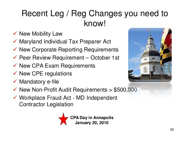 Recent Leg / Reg Changes you need to                    know!                       o    New Mobility Law    Maryland In...