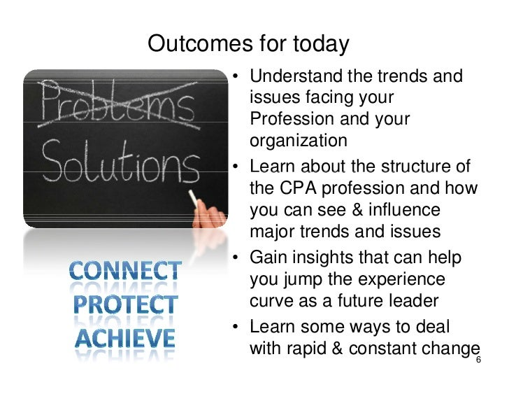 Outcomes for today        • Understand the trends and          issues facing your          Profession and your          or...