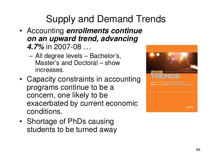 Supply and Demand Trends • Accounting enrollments continue   on an upward trend, advancing   4.7% in 2007-08 …   – All deg...