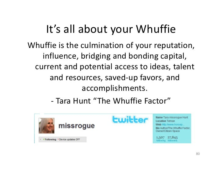 It sallaboutyourWhuffie      It's all about your Whuffie Whuffieistheculminationofyourreputation,    influence,...