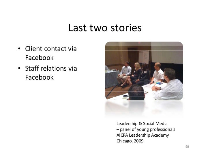 Last two stories                   Last two stories • Client contact via   Client contact via    Facebook • Staff relation...
