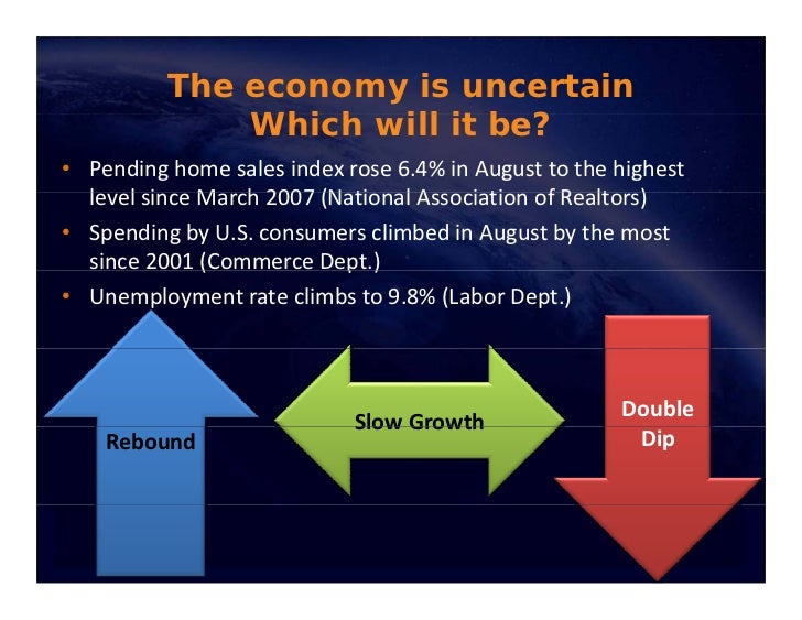 The economy is uncertain               Which ill be?               Whi h will it b ? • Pendinghomesalesindexrose6.4%...