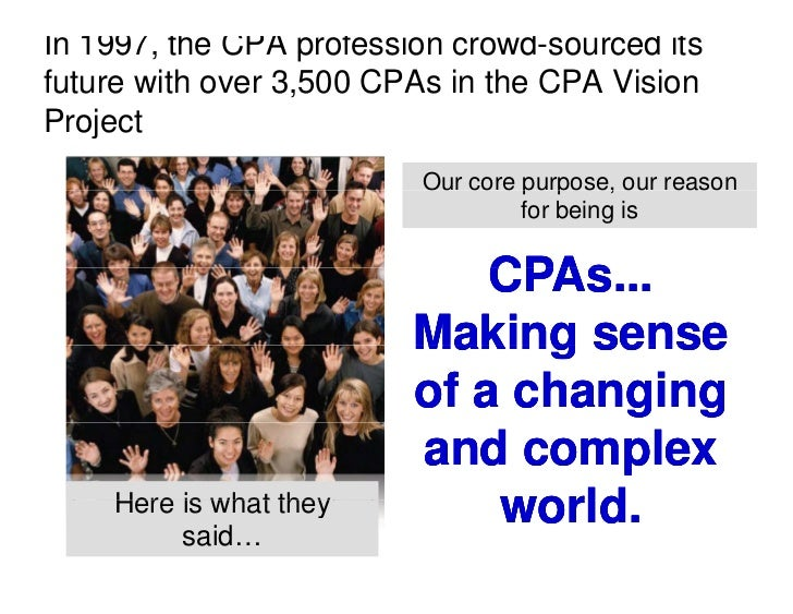 In 1997, the CPA profession crowd-sourced its future with over 3,500 CPAs in the CPA Vision Project P j t                 ...