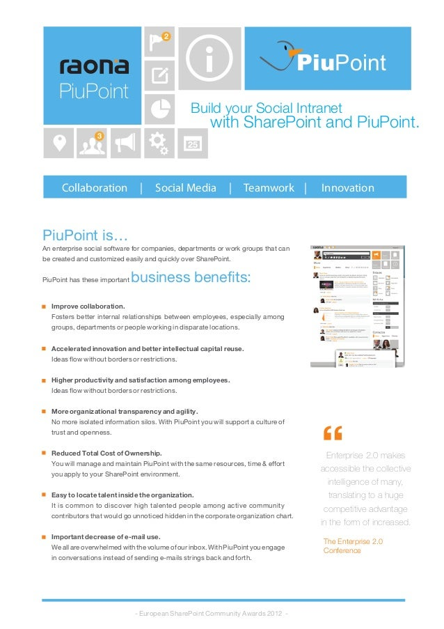 Build your Social Intranet with SharePoint and PiuPoint. Collaboration | Social Media | Teamwork | Innovation PiuPoint is…...