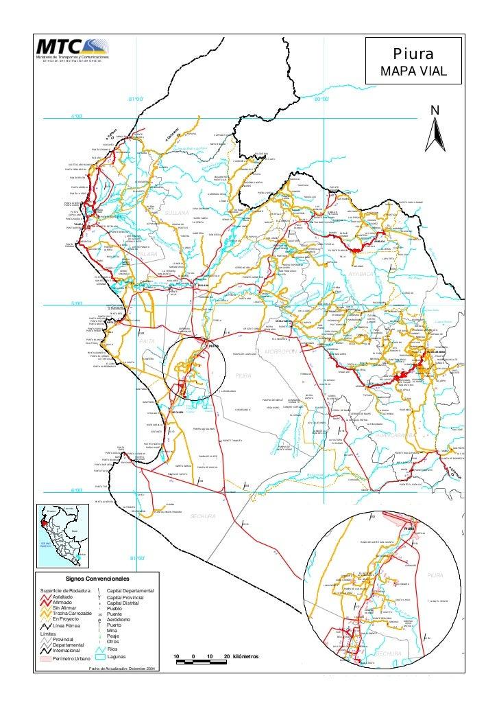 Mapa vial del departamento de piura for Ministerio del interior ubicacion mapa