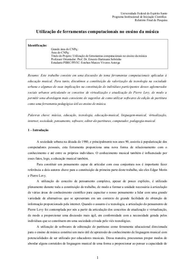 Universidade Federal do Espírito Santo                                                                   Programa Instituc...
