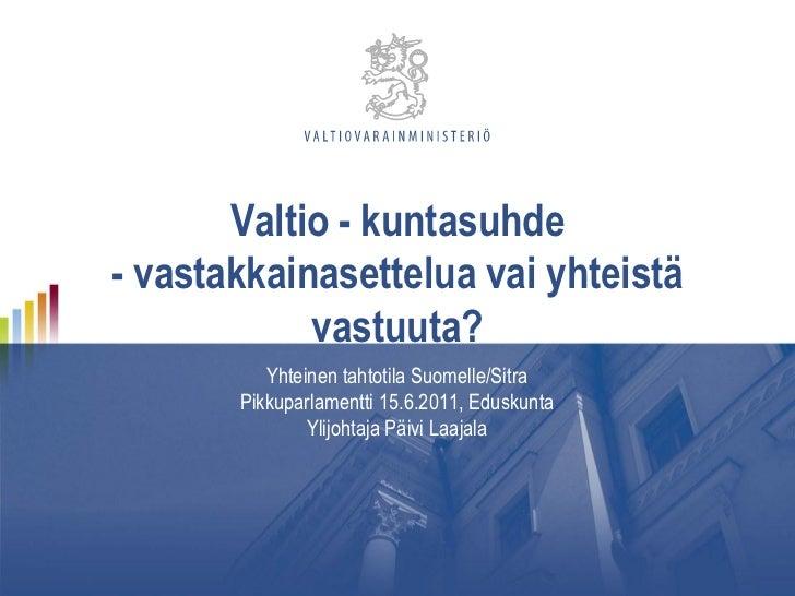 Valtio - kuntasuhde- vastakkainasettelua vai yhteistä            vastuuta?          Yhteinen tahtotila Suomelle/Sitra     ...