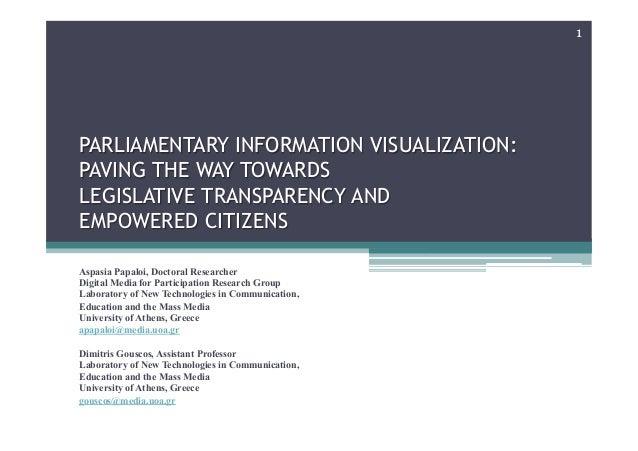 PARLIAMENTARY INFORMATION VISUALIZATION:PAVING THE WAY TOWARDSLEGISLATIVE TRANSPARENCY ANDEMPOWERED CITIZENSAspasia Papalo...