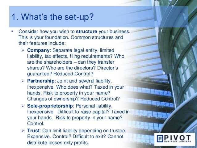 1. What's the set-up?  Consider how you wish to structure your business. This is your foundation. Common structures and t...