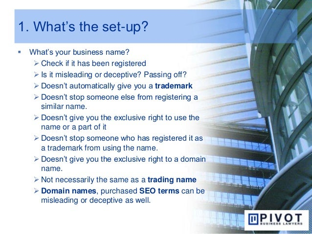 1. What's the set-up?  What's your business name?  Check if it has been registered  Is it misleading or deceptive? Pass...
