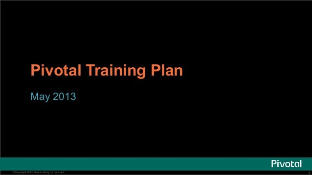11© Copyright 2013 Pivotal. All rights reserved.Pivotal Training PlanMay 2013