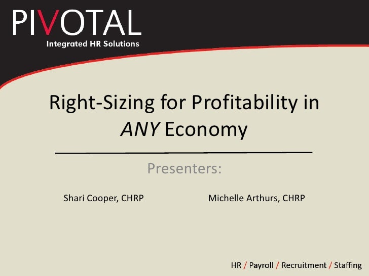 Right-Sizing for Profitability in         ANY Economy                       Presenters:  Shari Cooper, CHRP           Mich...