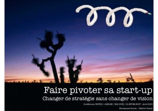 Faire pivoter sa start-up Changer de stratégie sans changer de vision Conférence CRITEO / AXELEO / EM LYON / CLUSTER EDIT ...