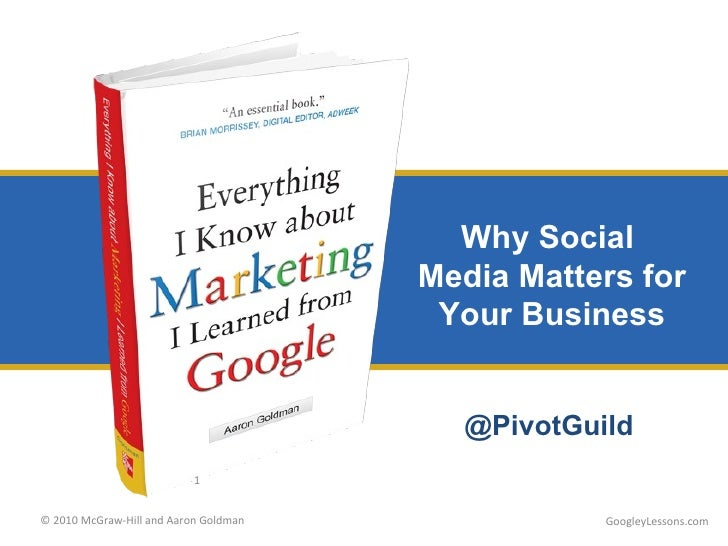 Why Social  Media Matters for Your Business GoogleyLessons.com @PivotGuild