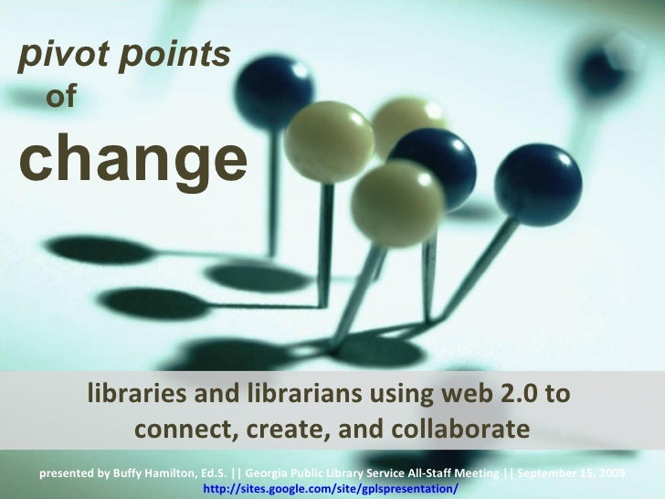 libraries and librarians using web 2.0 to  connect, create, and collaborate presented by Buffy Hamilton, Ed.S. || Georgia ...