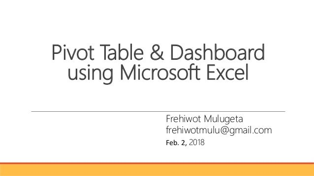 pivot table and dashboard in microsoft excel