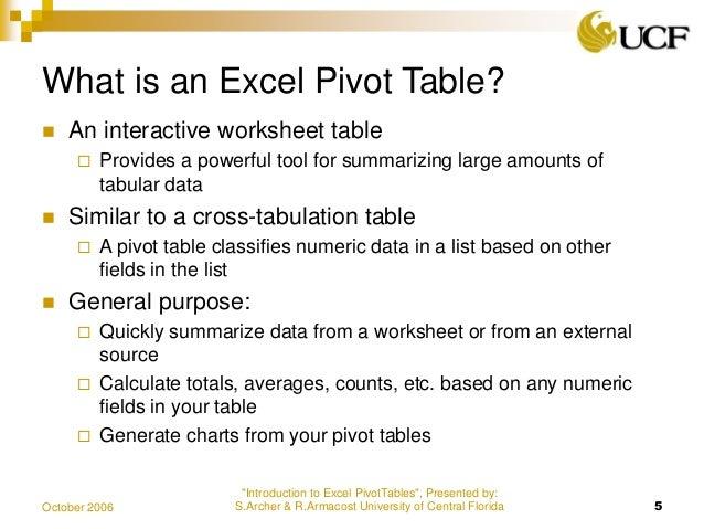 pivot table presentation
