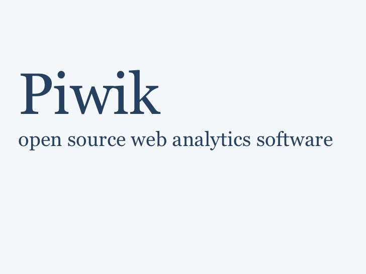 Piwik open source web analytics software