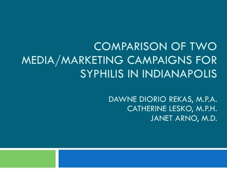 COMPARISON OF TWO MEDIA/MARKETING CAMPAIGNS FOR SYPHILIS IN INDIANAPOLIS DAWNE DIORIO REKAS, M.P.A. CATHERINE LESKO, M.P.H...