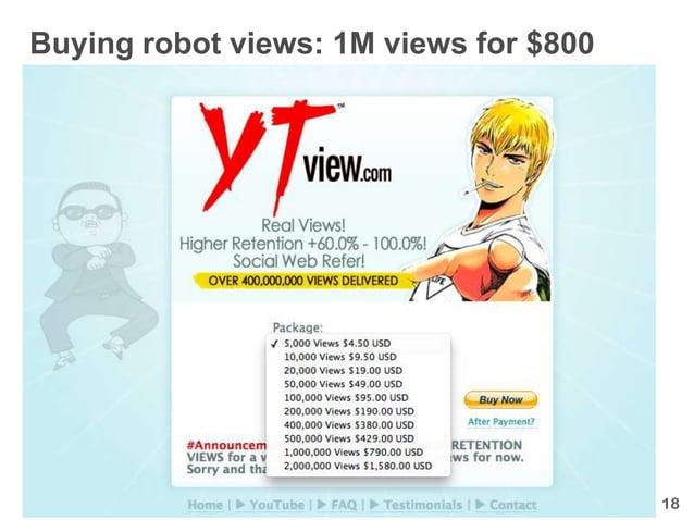 Buying robot views: 1M views for $800                                        18