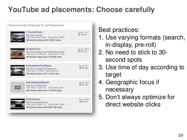 YouTube ad placements: Choose carefully                        Best practices:                        1. Use varying forma...