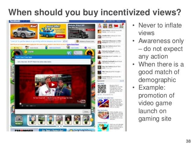 When should you buy incentivized views?                           • Never to inflate                             views    ...