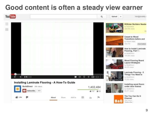 Good content is often a steady view earner• Know your targets intimately• Example: Build Direct from Canada               ...