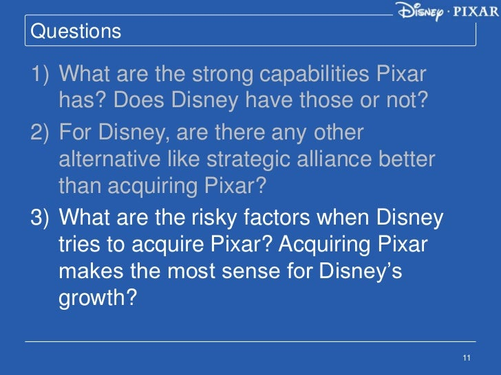 the walt disney company and pixar inc essay I had to write an in-depth evaluation of the walt disney company  i got great feedback on my essay and am really glad that i  and pixar disney stores.