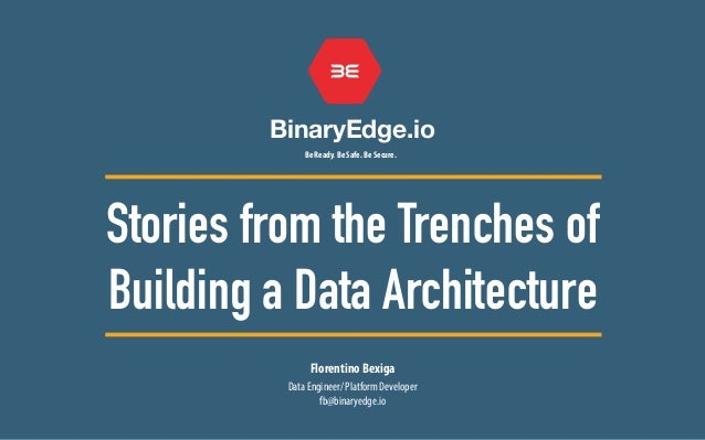 BinaryEdge.io Be Ready. Be Safe. Be Secure. Florentino Bexiga Stories from the Trenches of Building a Data Architecture Da...