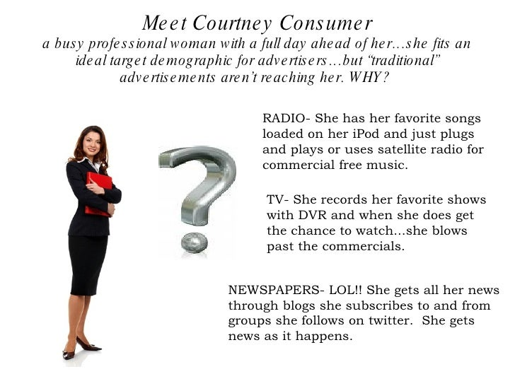 Meet Courtney Consumer a busy professional woman with a full day ahead of her…she fits an ideal target demographic for adv...