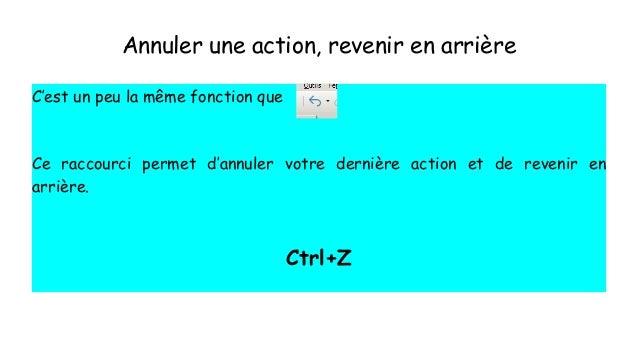Annuler une action, revenir en arrière C'est un peu la même fonction que Ce raccourci permet d'annuler votre dernière acti...