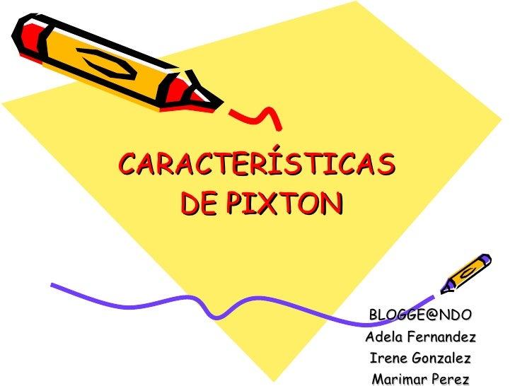 CARACTERÍSTICAS  DE PIXTON [email_address] Adela Fernandez Irene Gonzalez Marimar Perez