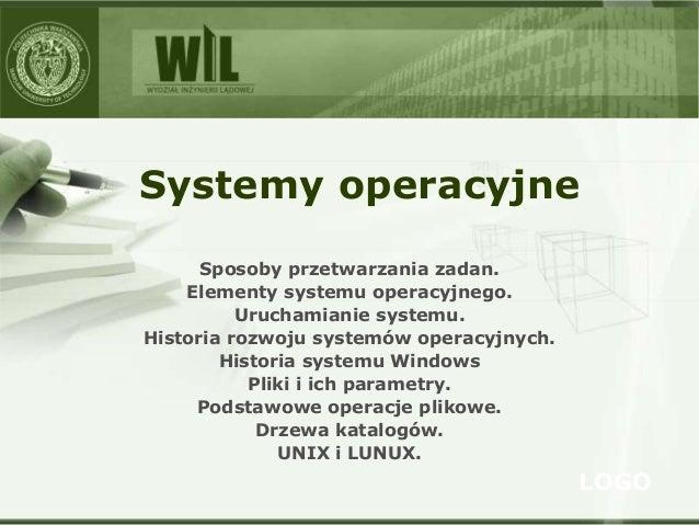 LOGO Systemy operacyjne Sposoby przetwarzania zadan. Elementy systemu operacyjnego. Uruchamianie systemu. Historia rozwoju...