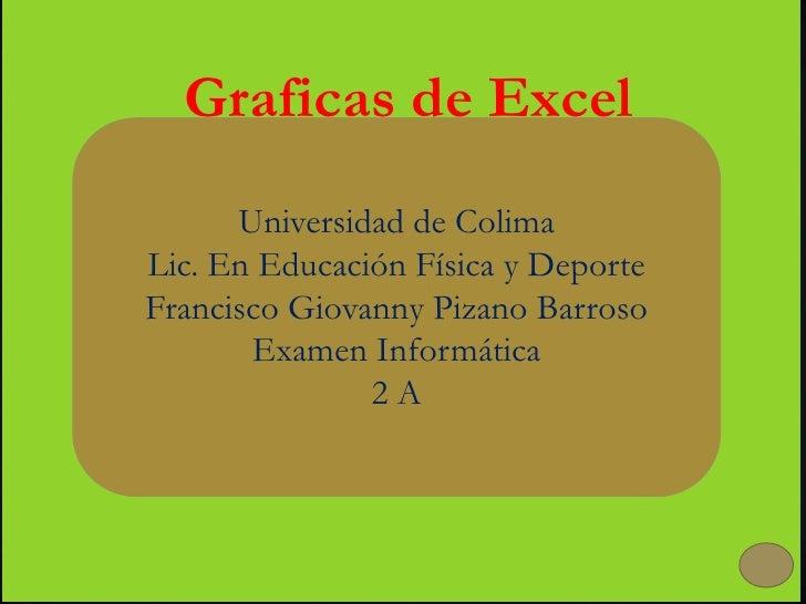Graficas de Excel      Universidad de ColimaLic. En Educación Física y DeporteFrancisco Giovanny Pizano Barroso       Exam...