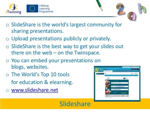 Slideshareo SlideShare is the worlds largest community forsharing presentations.o Upload presentations publicly or private...