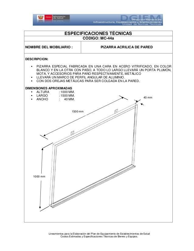 Pizarra acrilica p for Especificaciones tecnicas de mobiliario de oficina