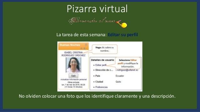 Pizarra virtual La tarea de esta semana: Editar su perfil No olviden colocar una foto que los identifique claramente y una...