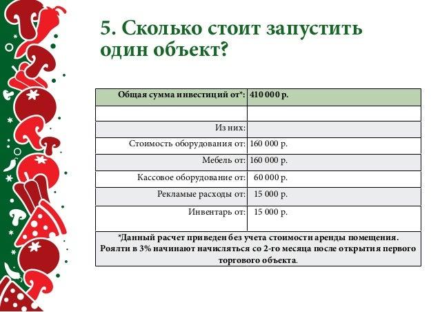 5. Сколько стоит запустить  один объект?  Общая сумма инвестиций от*: 410 000 р.  Из них:  Стоимость оборудования от: 160 ...
