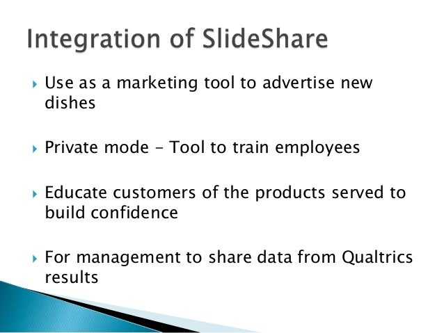    Use as a marketing tool to advertise new    dishes   Private mode - Tool to train employees   Educate customers of t...