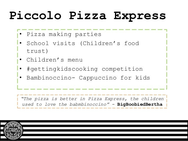 The Problem Pizza Express: • Smart, Stylish, Sophisticated • Quality food, reasonable prices • Ideal locations • Grown-up ...