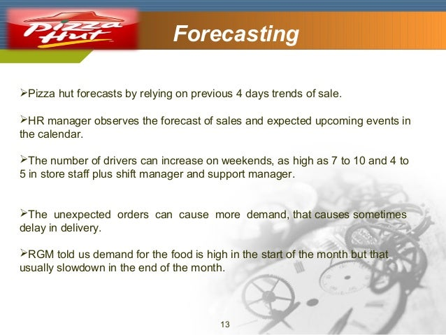 Company Logo  Forecasting  Pizza hut forecasts by relying on previous 4 days trends of sale. HR manager observes the for...