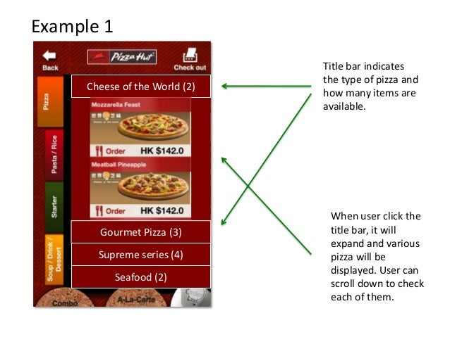 Example 1 Cheese of the World (2) Supreme series (4) Seafood (2) Gourmet Pizza (3) Title bar indicates the type of pizza a...