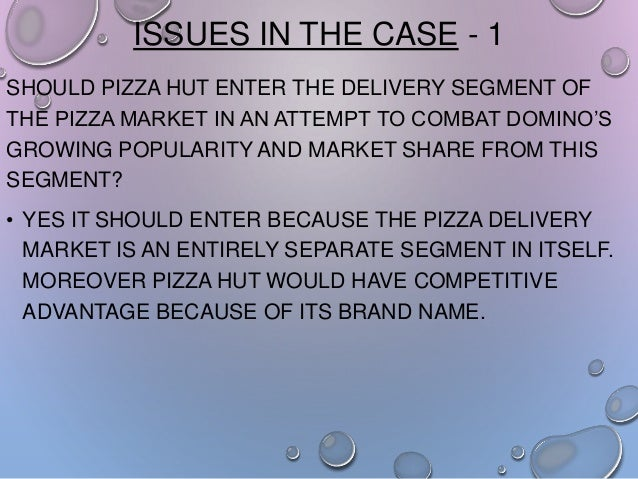 ISSUES IN THE CASE - 1 SHOULD PIZZA HUT ENTER THE DELIVERY SEGMENT OF THE PIZZA MARKET IN AN ATTEMPT TO COMBAT DOMINO'S GR...