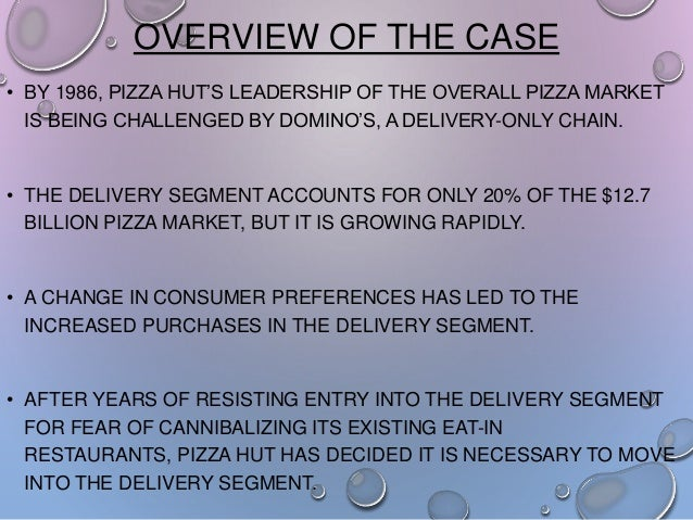 OVERVIEW OF THE CASE • BY 1986, PIZZA HUT'S LEADERSHIP OF THE OVERALL PIZZA MARKET IS BEING CHALLENGED BY DOMINO'S, A DELI...