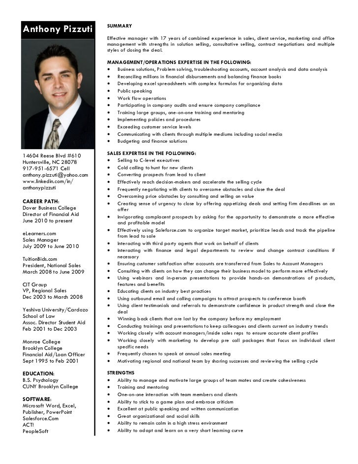 pizzuti resume summary of strengths
